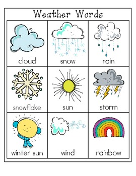 Weather Words File Folder Word Wall 488977 on Preschool Writing Pages