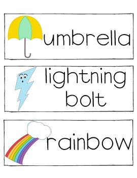 Weather Words For Word Wall Packet