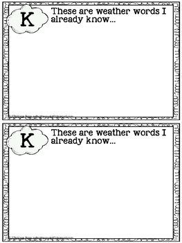 Weather Words KWL Notebook FREEBIE