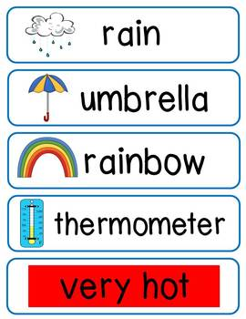 Weather Words Literacy Center Materials
