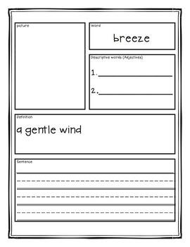 Vocabulary Activities | Vocabulary Graphic Organizers | Weather Vocabulary