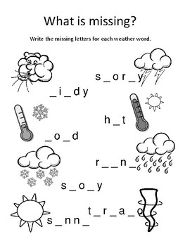weather words worksheets by samantha weeks teachers pay teachers. Black Bedroom Furniture Sets. Home Design Ideas