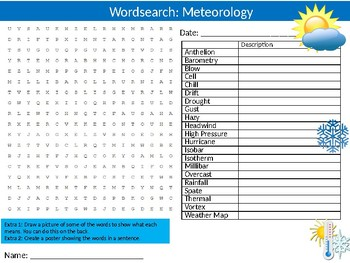 Weather Wordsearch Puzzle Sheet Keywords Geography Meteorology