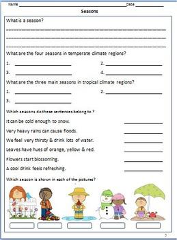 Weather - Worksheets, Activities & Bookmarks for Grade 3 & 4