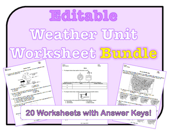 Weather Worksheets *EDITABLE BUNDLE* by NYS Earth Science and ...