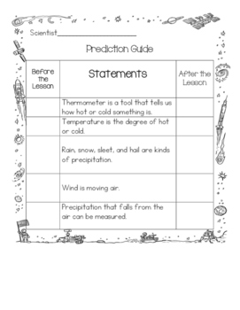 Weather Worksheets aligned to 5E Next Generation Science Standards