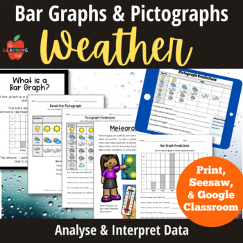 Weather Worksheets: pictographs, bar graphs, forecasting, predictions, posters