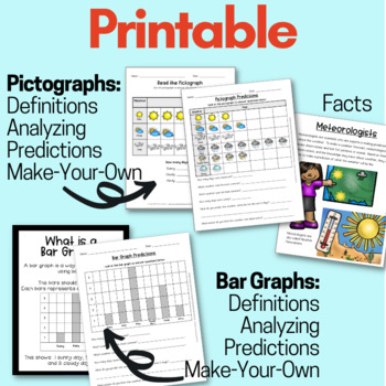Weather NGSS ESS2: pictographs, bar graphs, forecasting, predictions, posters
