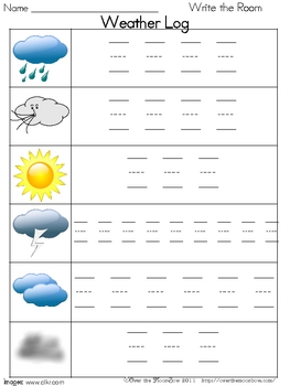 Weather Write / Stamp the Room Spelling Vocabulary Game