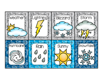 Weather Writing Center Display Cards