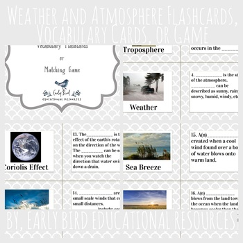 Weather and Atmosphere Review: Flashcards, Vocabulary Cards, or Matching Game