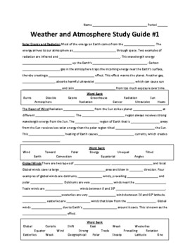 Weather and Atmosphere Unit Summative Study Guide #1