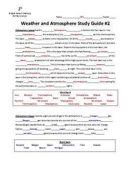 Weather and Atmosphere Unit Summative Study Guide #2