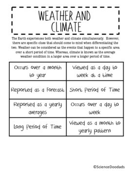 Weather and Climate - Card Sort