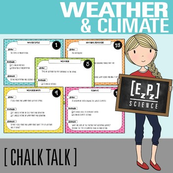 Weather and Climate Chalk Talk Task Cards