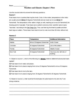 Weather and Climate Chapter 1 Test