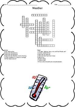 Weather and Climate Crossword and Word Search