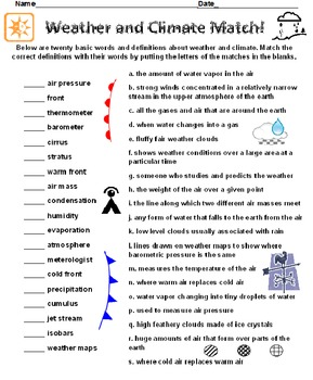 Weather and Climate Definitions Match