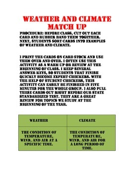 Weather and Climate Match Up