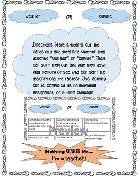 Weather and Climate Matching Game Activity