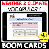 Weather and Climate Vocabulary Quiz BOOM CARDS: Use with NGSS