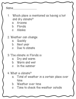 Weather and Climate Reading Comprehension