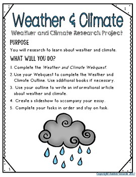 Weather and Climate Research Webquest with STEM