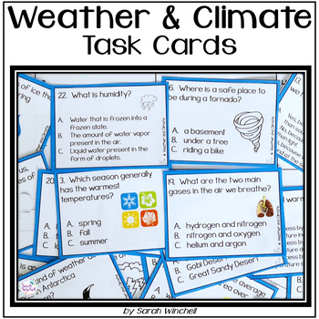Weather Task Cards and SCOOT Game NGSS 3-ESS2 3-ESS2-1 3-ESS2-2 3-ESS2-3