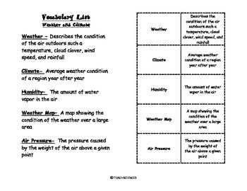 Weather and climate quiz teaching resources teachers pay teachers weather and climate vocab pack weather and climate vocab pack fandeluxe