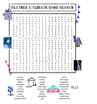Weather and Climate Word Search Puzzle