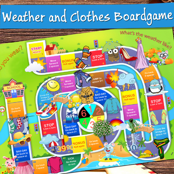 Weather and Clothes Board Game – vocabulary activities for Primary Grades