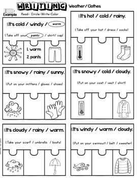 Weather and Clothes- Interactive Notebook- Fun  Writing
