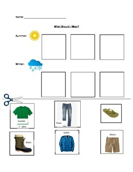 Weather and Clothing -Pictures and Words