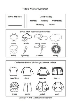 WEATHER Worksheets and Center Activities