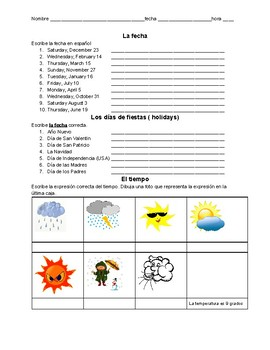 weather and date spanish practice worksheet by valdosta alston tpt. Black Bedroom Furniture Sets. Home Design Ideas