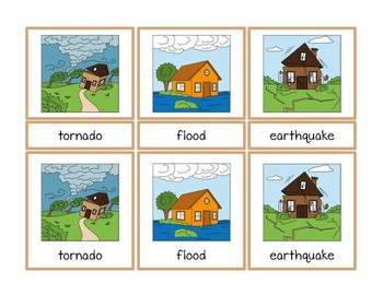 Weather and Natural Disasters Montessori Three Part Vocabulary Cards