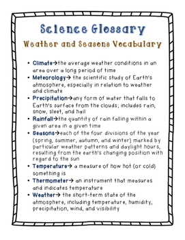 Weather and Season's Memory Match: A Science Vocabulary Game