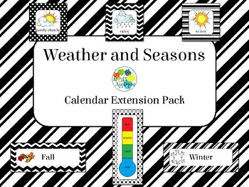 Weather and Seasons Calendar in Black and White Theme
