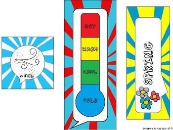 Weather and Seasons Calendar in Comic Book Theme