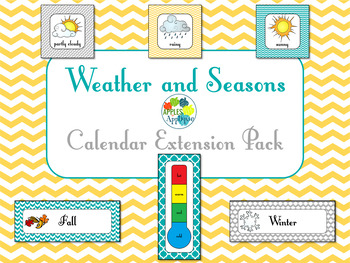 Weather and Seasons Calendar in Yellow Teal and Gray
