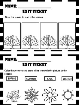 Weather and Seasons - Exit Tickets