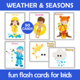 Weather and Seasons Flash Cards; Kindergarten; Preschool;