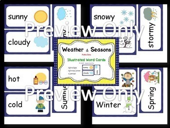 Weather and Seasons Vocabulary Word Cards