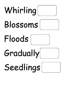 Weather and Seasons Word Wall Words