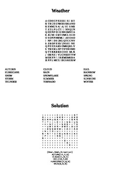 Weather and Seasons Wordsearch