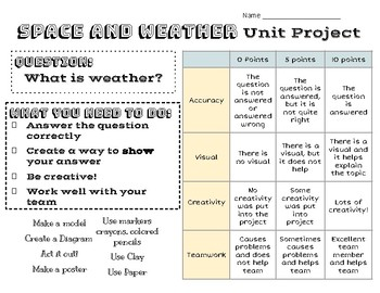 Weather and Space Unit Project