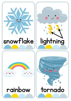 Weather and Temperature Flash Cards or Weather Center Display Cards