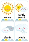 Weather and Temperature Flash Cards or Weather Center Disp