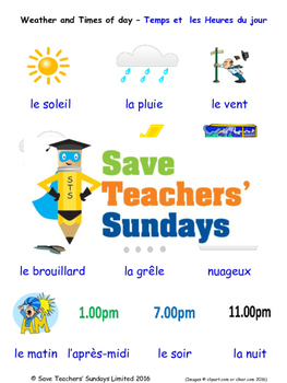 Weather and Times in French Worksheets, Games, Activities and Flash Cards