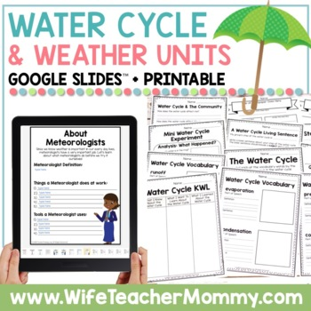 Weather and Water Cycle Thematic Unit Bundle